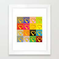 Gold Hearts On Colorful … Framed Art Print