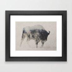 Bison In The Fog Framed Art Print