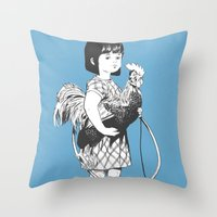 Rooster Girl Throw Pillow