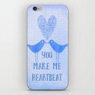 Heartbeat Blue iPhone & iPod Skin