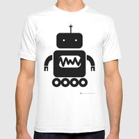 ROBOT Number Three Mens Fitted Tee White SMALL