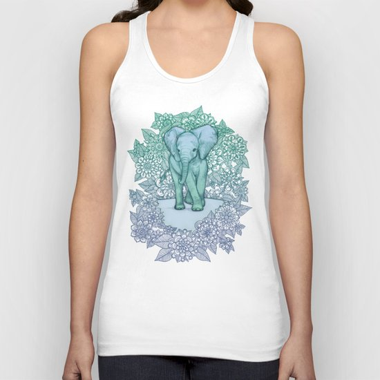 Emerald Elephant in the Lilac Evening Unisex Tank Top