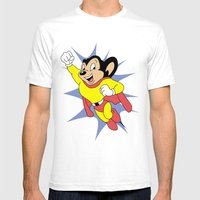 Mighty Mouse Mens Fitted Tee White SMALL