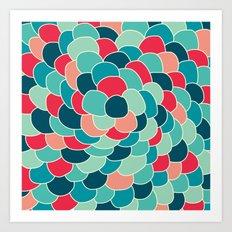 Petals (Aqua Red) Art Print