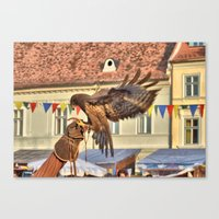 Falcon Landing on Falconer's Gauntlet Canvas Print