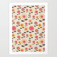 Floral Flight Pink Art Print