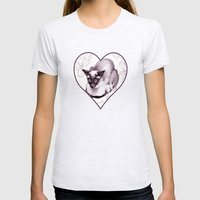 Siamese Champion Cat Womens Fitted Tee Ash Grey SMALL