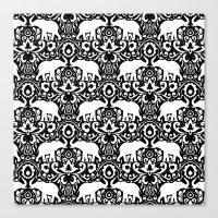 Elephant Damask Black and White Canvas Print
