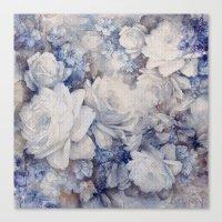 blue vintage floral Canvas Print