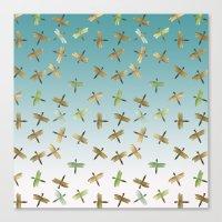 Mint Gold Blue Watercolo… Canvas Print