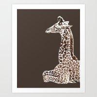 Giraffe in Brown Art Print