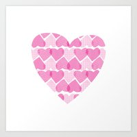 Pretty ruby heart Art Print