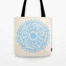 Pale Blue Pencil Pattern - hand drawn lace mandala Tote Bag