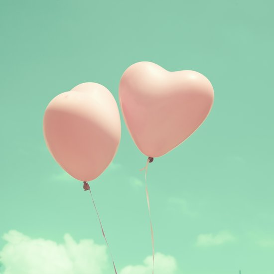 Close Love, Pink heart balloons on soft blue sky Art Print