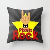 Pixels Rock Throw Pillow