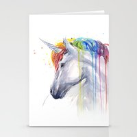 Rainbow Unicorn Watercolor Stationery Cards