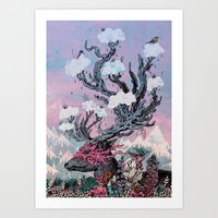 Journeying Spirit (deer) sunset Art Print