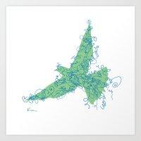 Bird Fly No. 2 (Blue/Gre… Art Print