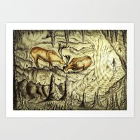 Rock Shelter Reindeer  Art Print
