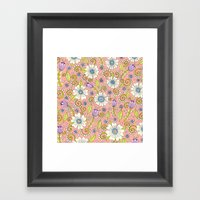 Peach Floral Pattern Framed Art Print