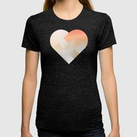 Danish Heart Coral Womens Fitted Tee Tri-Black SMALL