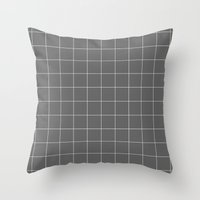 Grey and White Grid Throw Pillow