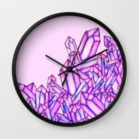Pink purple watercolor paint crystals gem pattern Wall Clock