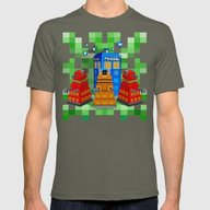 8bit Dalek With Tardis D… Mens Fitted Tee Lieutenant SMALL
