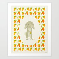 rabbit Art Prints featuring Rabbit by Jane Mathieu
