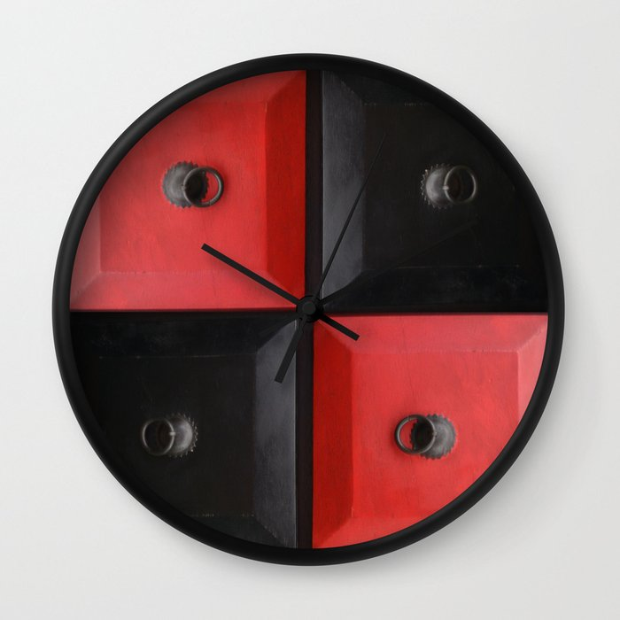 Red and black design wall clock by sladja society6 for Red and black wall clock