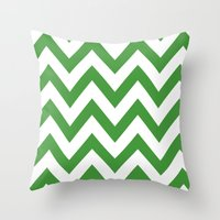 MEAN GREEN CHEVRON Throw Pillow