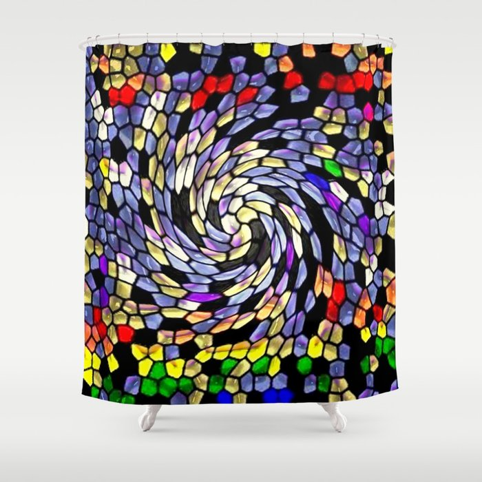Stained Glass Spin Shower Curtain By Lillianhibiscus
