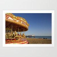 Golden Carousel At The B… Art Print