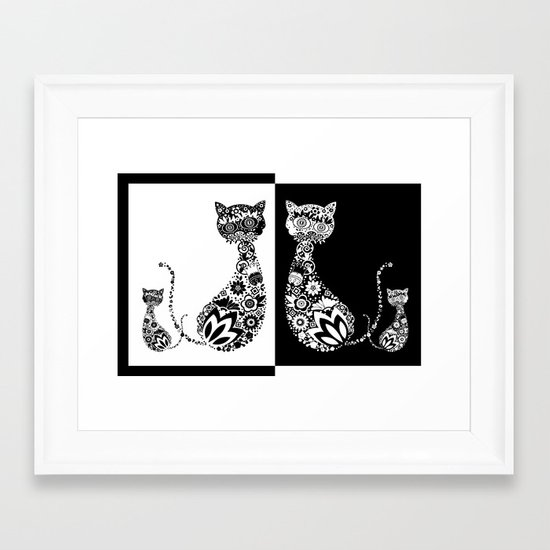 Cats Of Inversion - Digital Work Framed Art Print