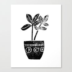Rubber Plant linocut lino printmaking illustration black and white houseplant art decor dorm college Canvas Print
