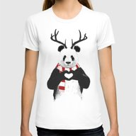 Xmas Panda Womens Fitted Tee White MEDIUM