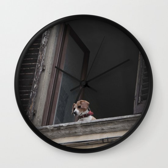 take me with you _ Beagle in a window Wall Clock