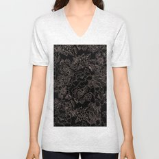 Pink coral tan black floral illustration pattern Unisex V-Neck