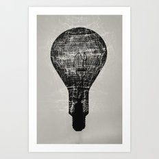 Shadowy Lightbulb Art Print