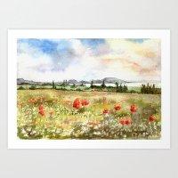 Poppies at the Lake Balaton Art Print