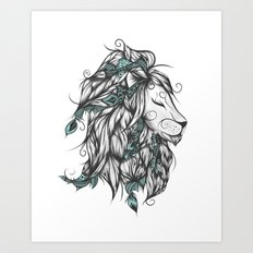 Poetic Lion Turquoise Art Print