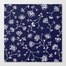 Indigo Floral Trail Canvas Print
