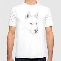 Saber :: A Siberian Husky Mens Fitted Tee White SMALL