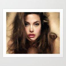 Angelina Jolie Hair Art Print