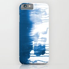 Paint 1 - indigo blue drip abstract painting modern minimal trendy home decor dorm college art iPhone 6 Slim Case