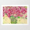 Coming Up Roses -- Pink Rose Flower Bouquet Waterlogue Paris Apt Chic Still Life Art Print