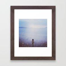 Swimming dog Framed Art Print