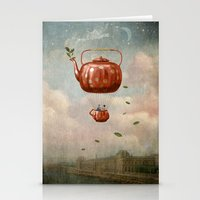 tea Stationery Cards featuring Tea for Two at Dusk by Paula Belle Flores
