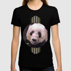 Giant Panda Bear Womens Fitted Tee Black SMALL