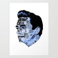 Johnny Cash- Blue Art Print